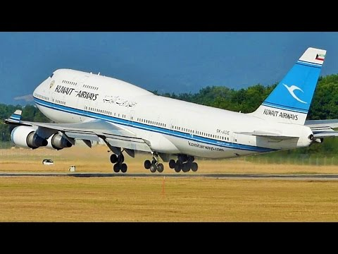 [FullHD] Kuwait Airways Boeing 747-400(M) landing & takoff at Geneva/GVA/LSGG