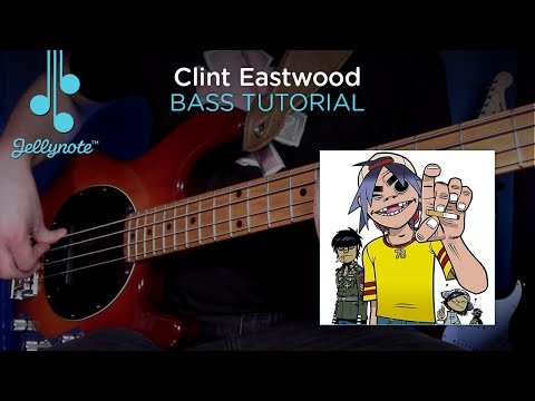 Clint Eastwood Gorillaz - Bass Tutorial Play A Long (Jellynote Lesson)