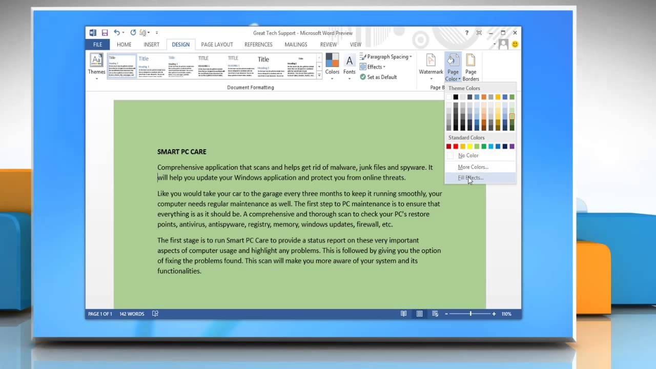 Ms Word  How To Change Background Page Color