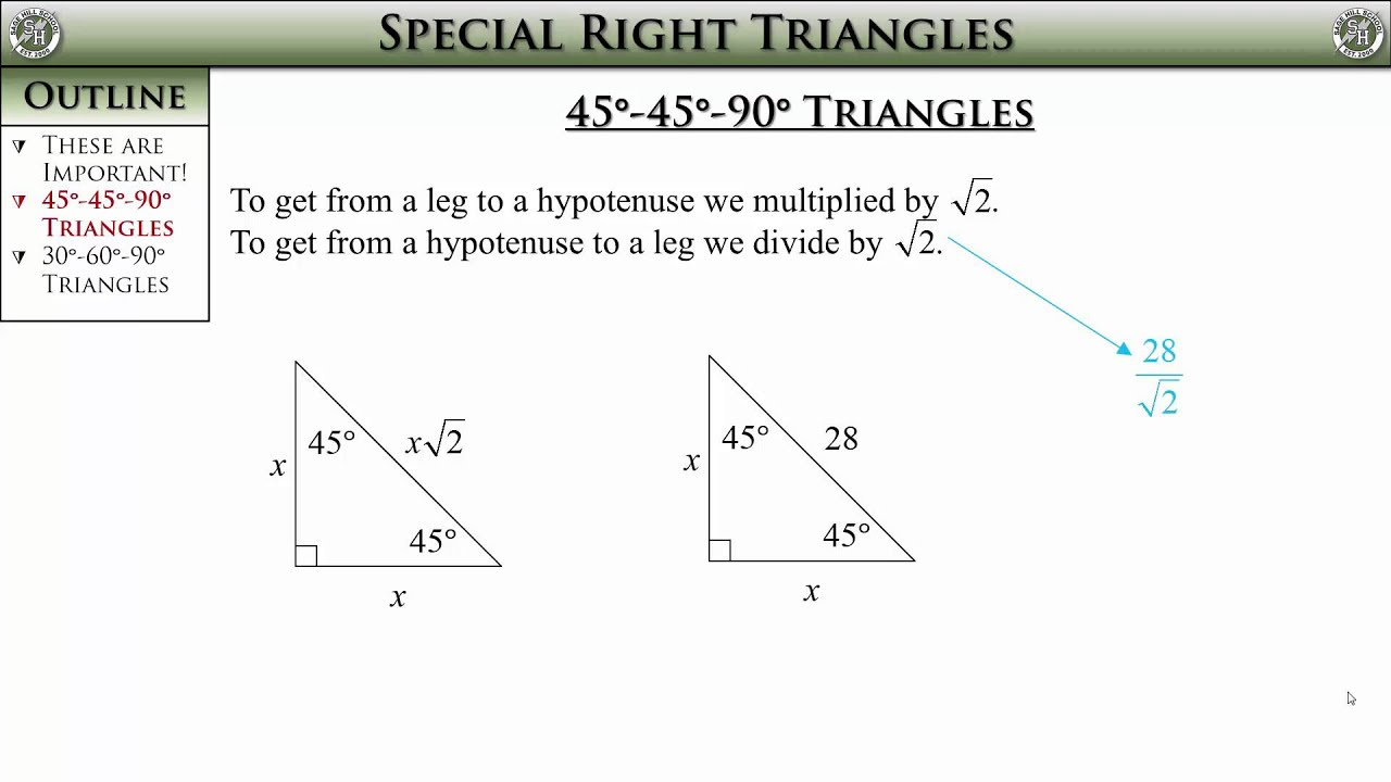 Geometry Section 8 2 Special Right Triangles