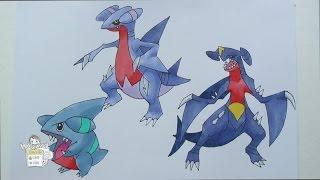 Drawing Pokemon: No. 443 Gible, No. 444 Gabite, No. 445 Garchomp