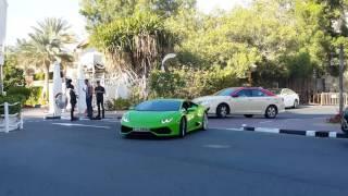 Green Lamborghini not given permission to enter Burj Al Arab Hotel in Dubai today 24.01.2016