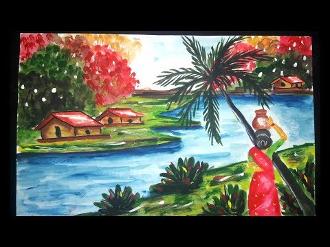 How to draw a village woman/ river/,village landscape ,/ coconut tree/ ,village woman picture