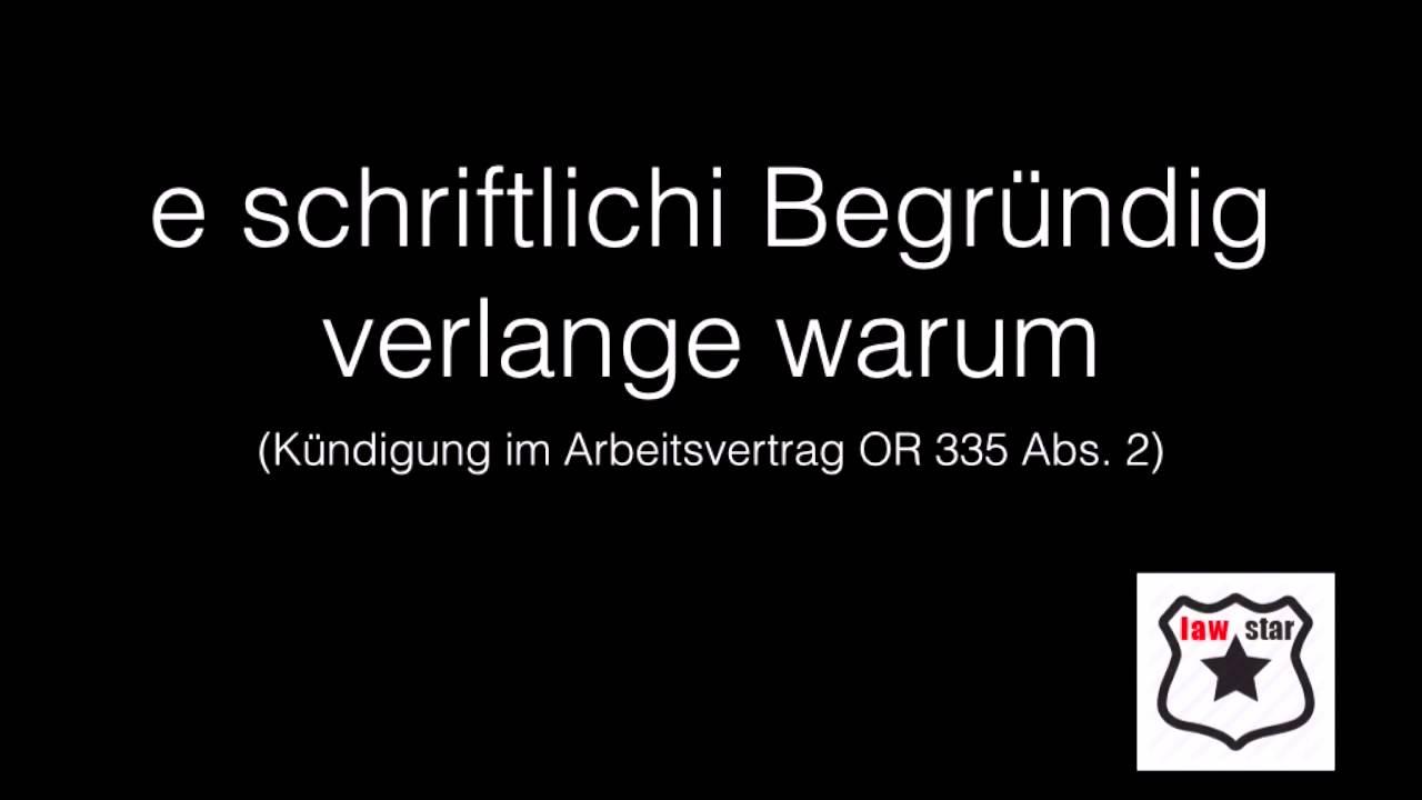 Kündigung Im Arbeitsvertrag Or 335 Youtube