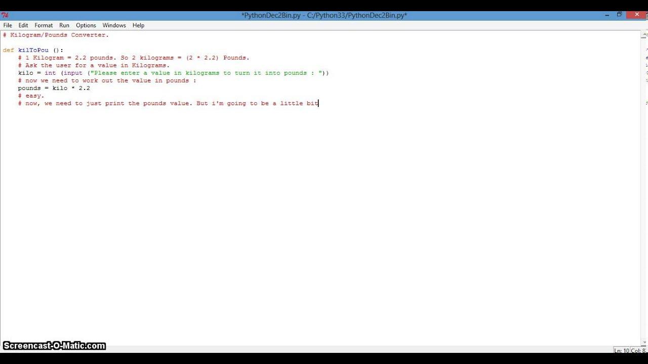 Python Programming  Kilos To Pounds Converter