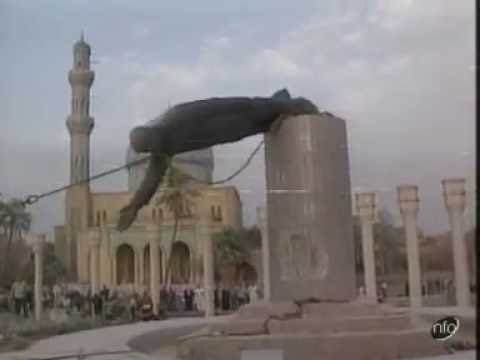 Saddam Hussein Statue Pulled Down To The Ground