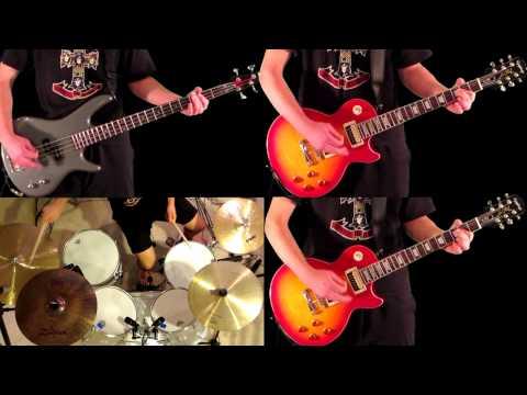 Nightrain Guns N' Roses Guitar Bass and Drum Cover
