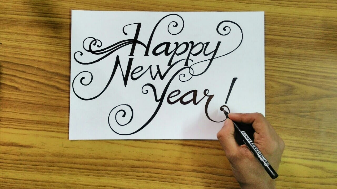 how to write happy new year 2018 in style calligraphy technique time lapses