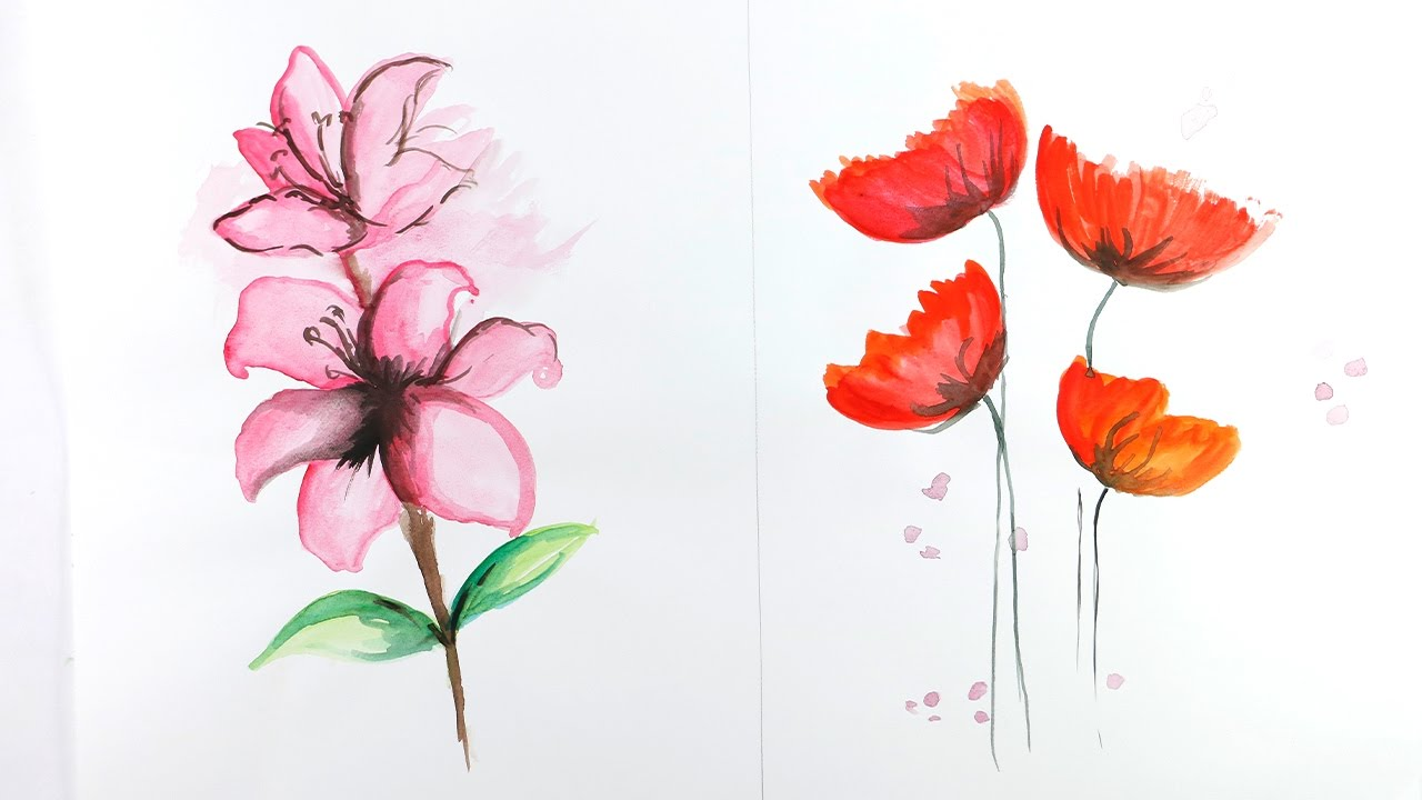 Watercolor Painting How To Draw Flowers With Watercolors By Drawinghours Youtube