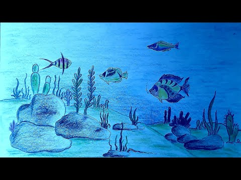How To Draw Underwater Scenery/Ocean Scenery/Colourful Fish Drawing