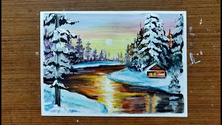 Snow Cabin Winter Scene | Landscape Painting with Acrylics