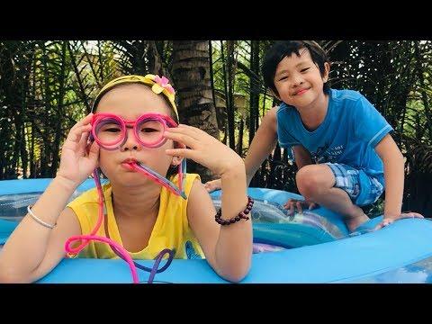 Stin Dâu Và Chiếc Mắt Kính Ngộ Nghĩnh (^_^) Hai Anh Em Làm Hồ Bơi Gấu Bông