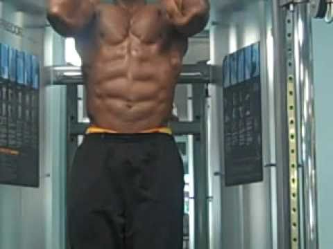 8 Pack Muscle Abs Flexing and Close Up on Abs Workout