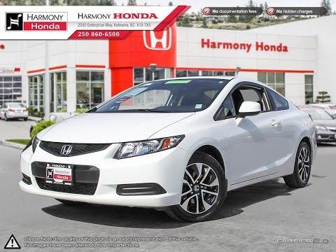 2013 Honda Civic Lx Coupe Harmony Honda White U5562 Kelowna