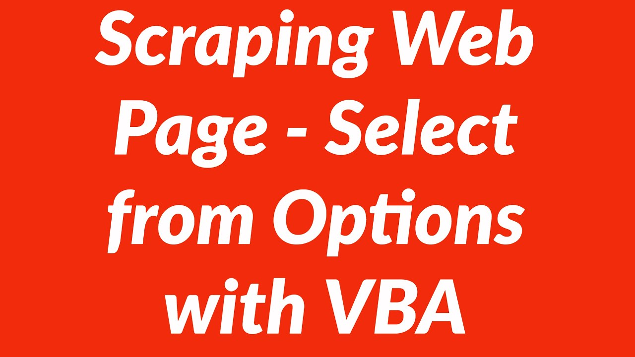 Scraping web page data of options in select object with vba