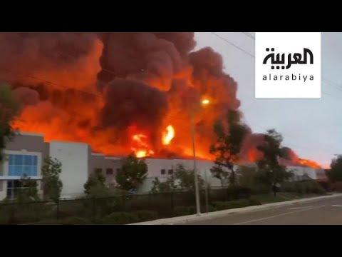 حريق ضخم يلتهم مستودعات شركة أمازون في ولاية كاليفورنيا الأميركية  - نشر قبل 10 ساعة