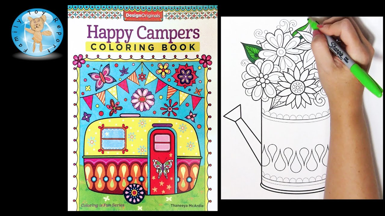 Design Originals Happy Campers Adult Coloring Book Thaneeya McArdle Watering Can