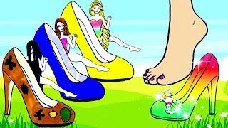Học Làm Búp Bê Giấy - Giày Mới Cho Sadako Và Rapunzel Xinh Đẹp & Lấp Lánh - Câu Chuyện Của Barbie