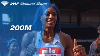 Shaunae Miller-Uibo catches Dina Asher smith at the line in Birmingham - IAAF Diamond League 2019