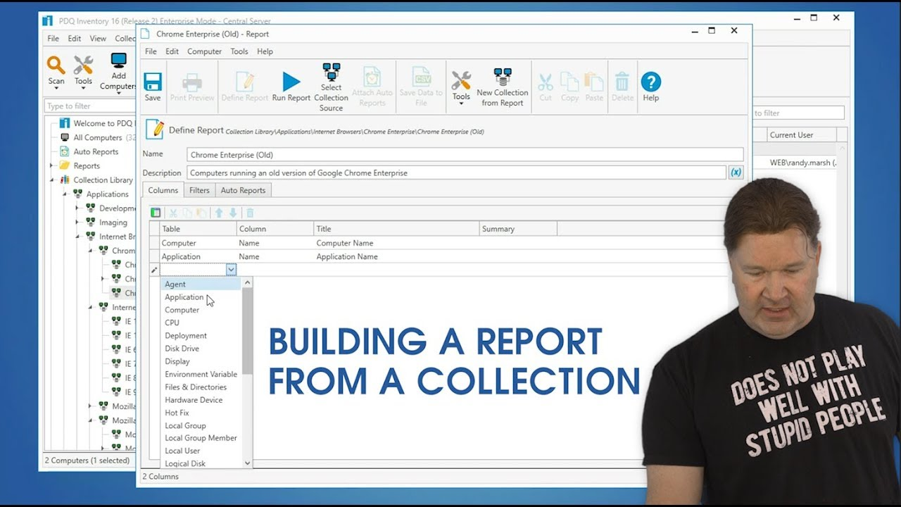 Building a Report from a Collection in PDQ Inventory