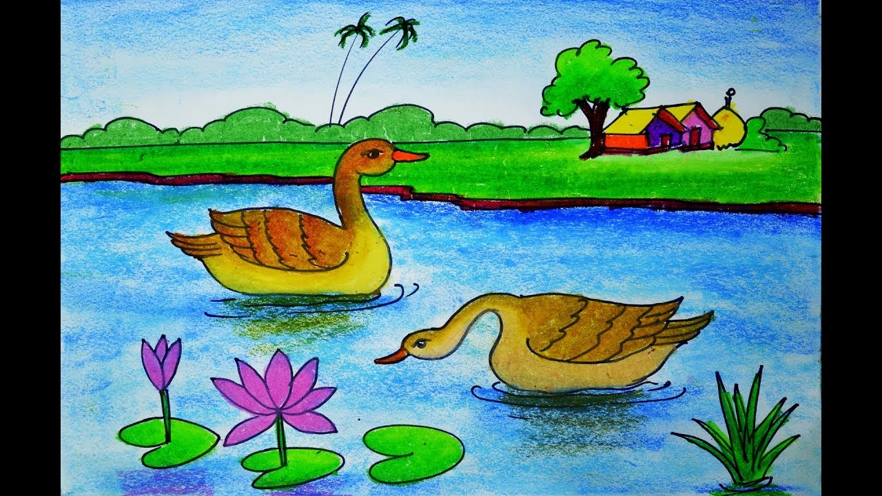 How To Draw Scenery Of Floating Duck In The Water Duck Scenery Drawing Youtube