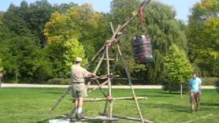Building A Trebuchet At Muskego's 2008 Webelo Feast