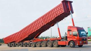 Extreme Dump Truck Unloading VOLVO Excavator CAT Dozer JCB Destroyer Tractor Oversize Load Transport