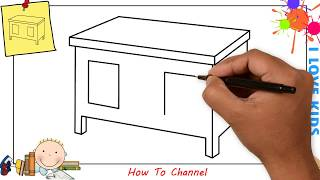 How to draw a table EASY step by step for kids, beginners, children 3