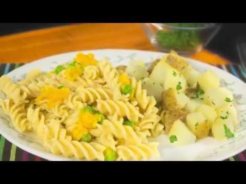 Tornillos integrales Doria con pure rústico de ahuyama arveja y queso con papa rústica.