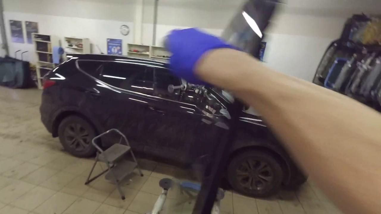 Замена лобового стекла на Hyundai Elantra в Казани. - YouTube