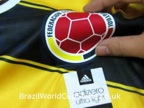 567f8fc7147 Colombia 2014 World Cup Home Thailand Quality Soccer Jersey - YouTube