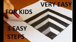 How To Draw 3D Hole for Kids - Anamorphic Illusion - 3D Trick Art on paper !!Very Easy!!