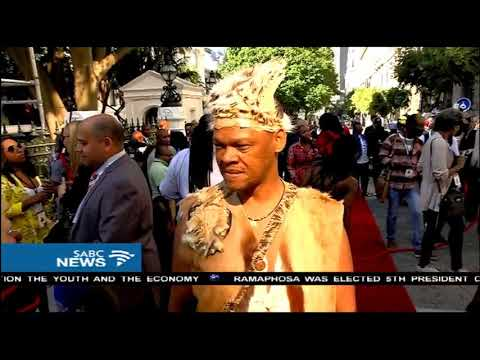 Khoisan leader makes statement on red carpet at SONA