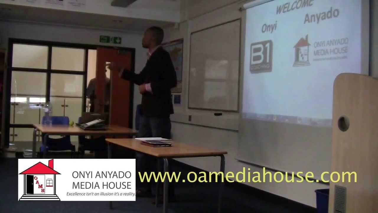Onyi Anyado speaking on purpose, vision and life skills to pupils in East London
