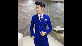 Royal Blue Mens Suits Slim Fit Plus Size 4XL Latest Coat Design Double Breasted Tuxedo Prom Suits 3