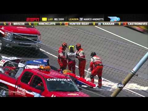 2012 Mike Conway & Will Power massive crash Indycar  @ Indianapolis (live)