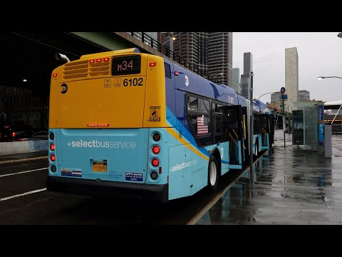 New York City Bus HD: Riding New Flyer Xcelsior XD60 #6102 On the M34 Select Bus Service