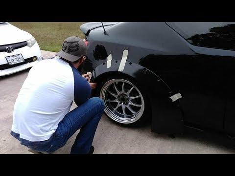 Slammed Scion Tc - DIY Clinched rear fender flare (Wide Body) test fit Pt. 1