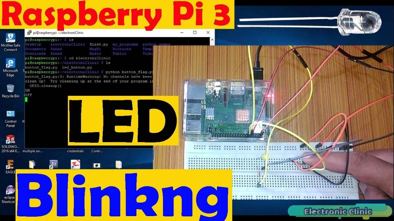 raspberry pi 3 tutorial 3 led blinking python program \