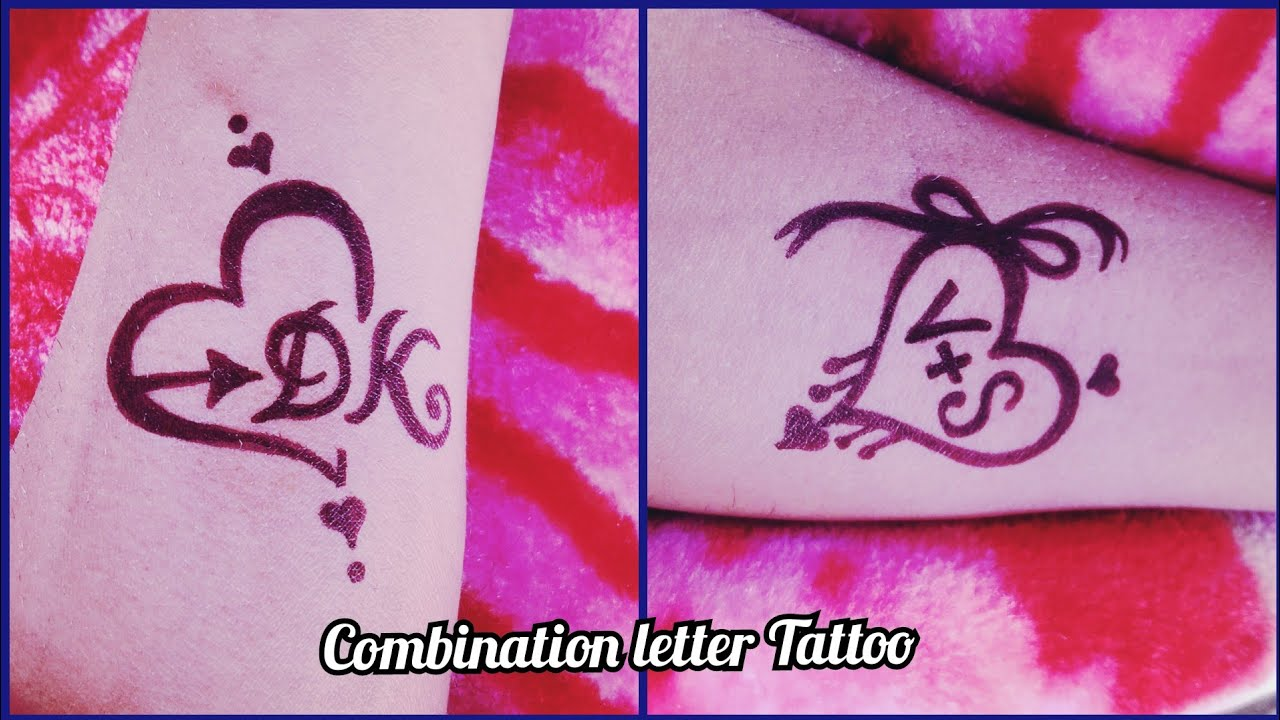 Beautiful D❤️K \u0026 V❤️S combination letter Tattoo on hand by black marker