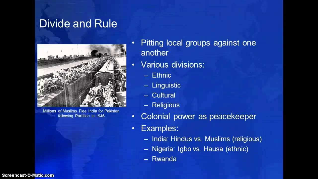 divide and rule india Of the british raj, allegedly following the old roman maxim of divide and rule   long before the british conquered india, the hindus had resented their.