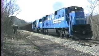 Conrail C39-8 and C30-7 leading coal trains on the Monongahela RWY in 1990.