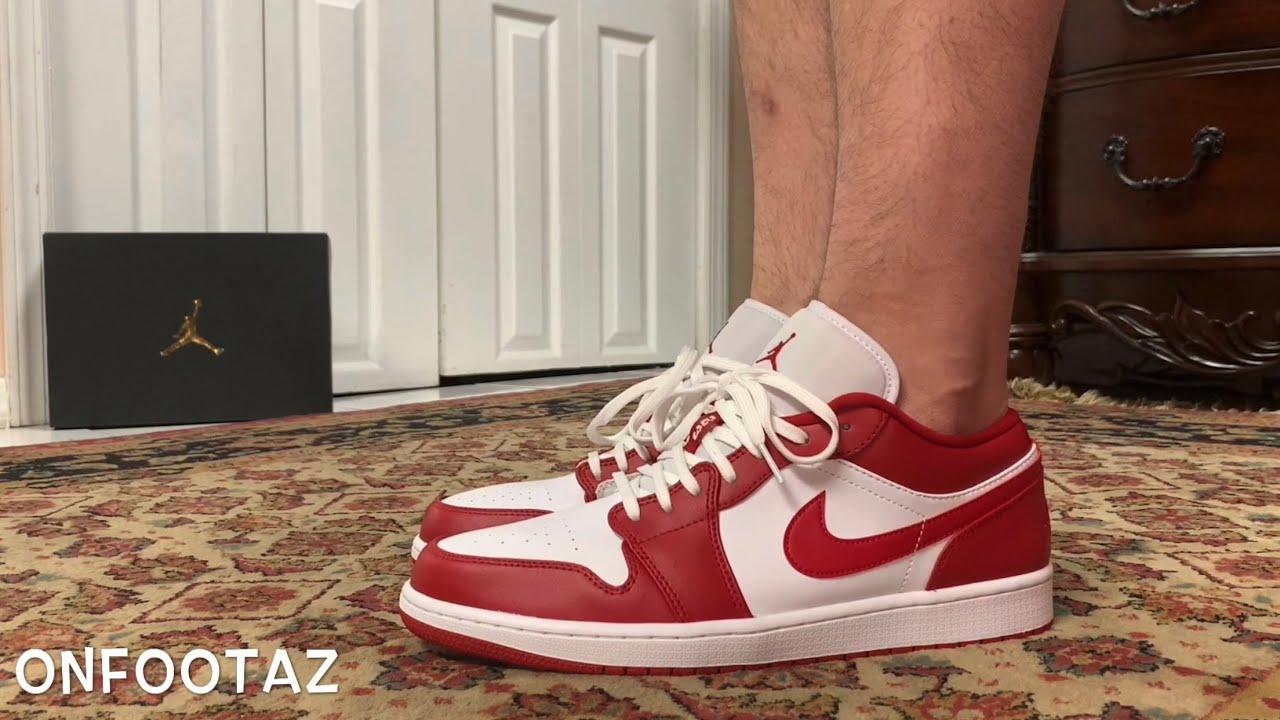 Air Jordan 1 Low White Gym Red On Foot Youtube
