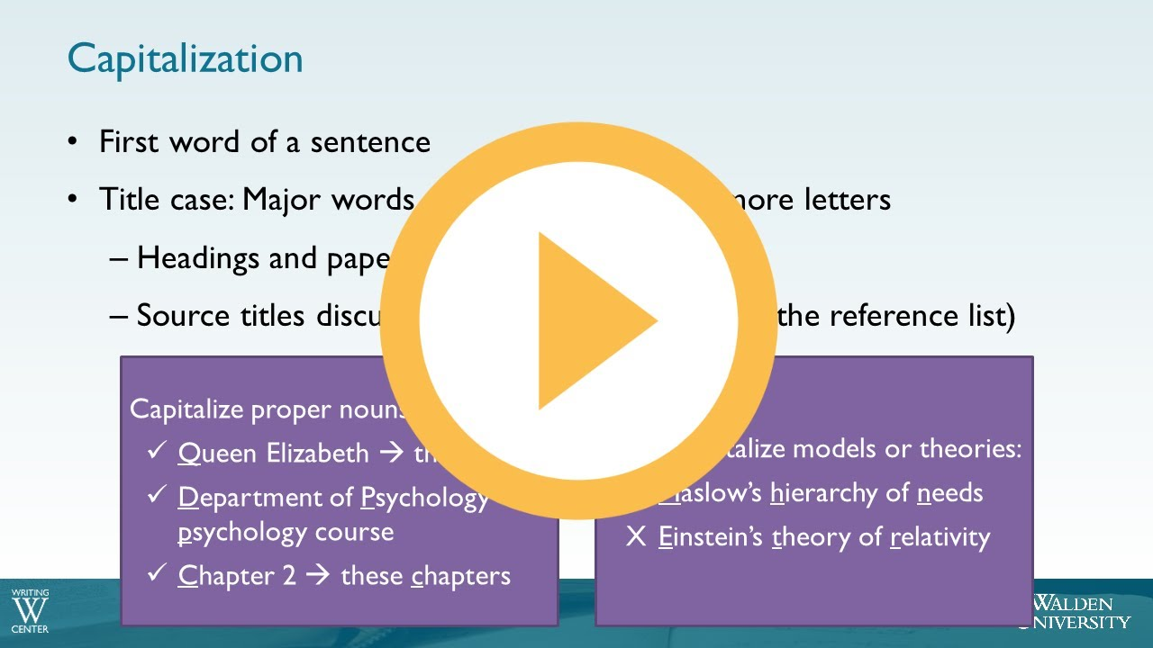 Capitalization Other Apa Guidelines Academic Guides At Walden University