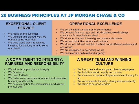 20 BUSINESS PRINCIPLES AT JP MORGAN CHASE & CO via James Dimon