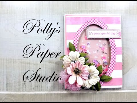 Scrap Your Stash Shaker Card  Polly's Paper Studio Tutorial Flowers Process