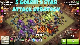 Clash Of Clans - NEW Elite 5 Golem + 2 Jump Spell 3 Star Attack Strategy - Destroy Max Th10