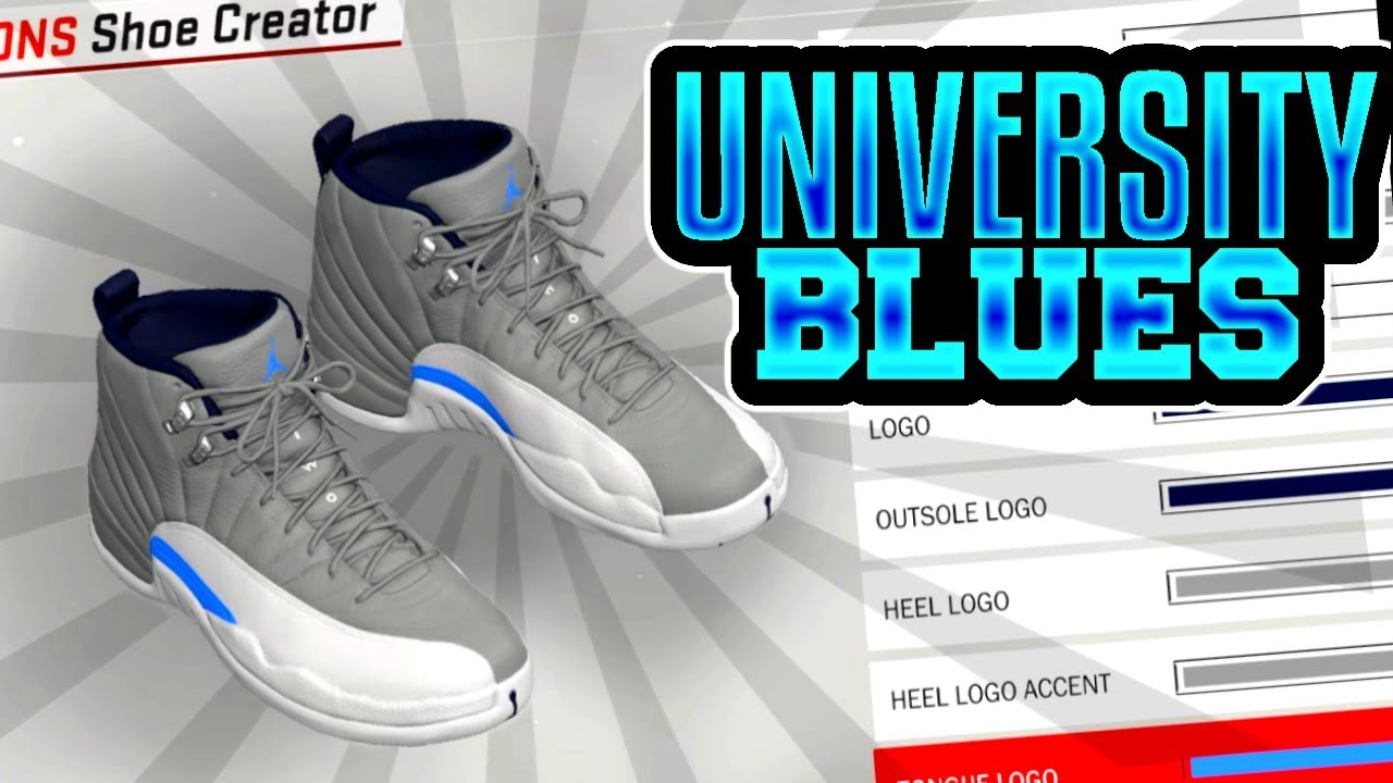 7a3c4692e15015 NBA 2K18 SHOE CREATOR TUTORIAL HOW TO MAKE AIR JORDAN 12 GREY UNIVERSITY  BLUE BEST AIR JORDAN RETROS