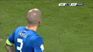 Skrtel own goal - Greece vs Slovakia - 2014 World Cup Qualifier