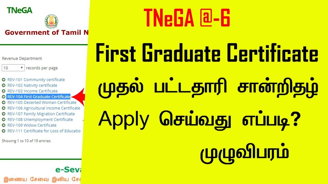 How to Apply First Graduate Certificate in Online l TNeGA @6 l tnesevai tn  gov in